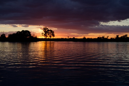 unedited: Sunset Over The River Murray  RAW UNEDITED  Stock Photo