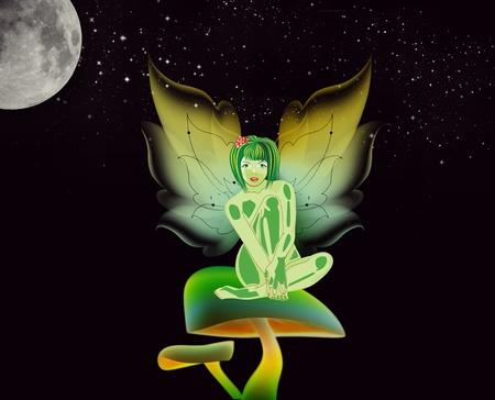 Fairy sitting on a mushroom under a starry sky  Stock Photo