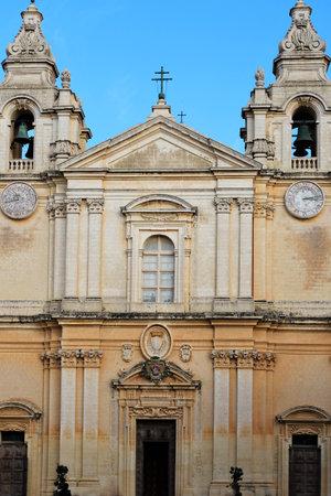The Metropolitan Cathedral of Saint Paul (Maltese 'Il-Katidral Metropolitan ta' San Paw'l), known as St Paul's Cathedral or the Mdina Cathedral. Standard-Bild