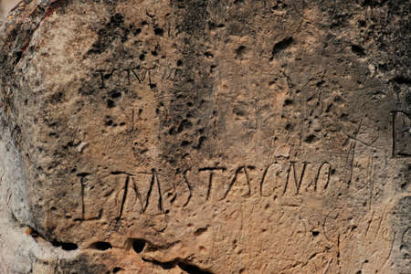 ancient writings on neolithic limestone temples of Ggantija in Xaghra on the island of Gozo, Malta