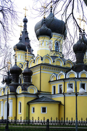 Towers of Orthodox church in Hrubieszow, Poland in autumn