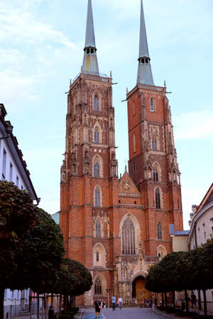 Wroclaw, Poland 08/24/2020 Vertical view of the gothic cathedral of Saint John the Baptist in Ostrow Tumski on the Odra River