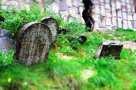 Ancient matzevah at an old jewish cemetery in Kazimierz Dolny, Poland Standard-Bild