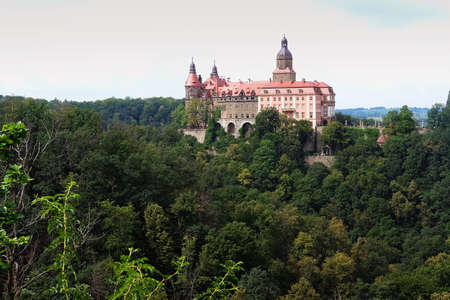 Ksiaz Wielki, poland 06/19/2020 Famous historic castle in Furstenstein Lower Silesia which belonged to Hochberg family Editorial