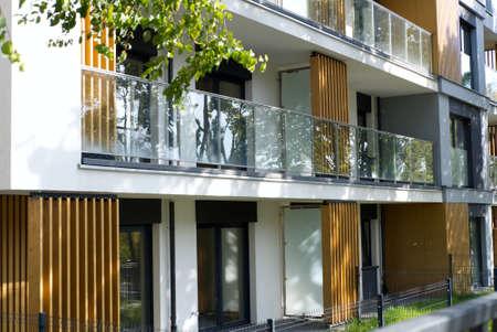 contemporary architecture of 21 century apartment block in residential area in city Standard-Bild