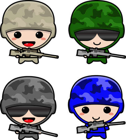 chibi military soldier with cute uniform gear carrying sniper rifle illustration