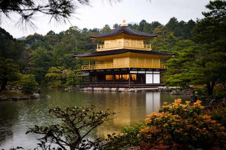 pavillion: The golden pavillion in spring time, Kinkakuchi temple, Kyoto Editorial