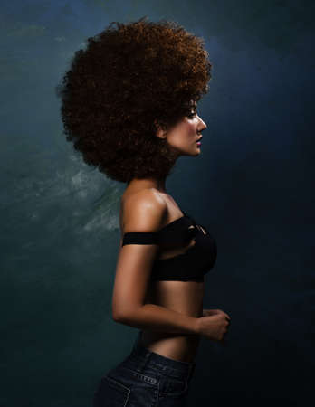 Girl in studio with an African hairstyle 版權商用圖片