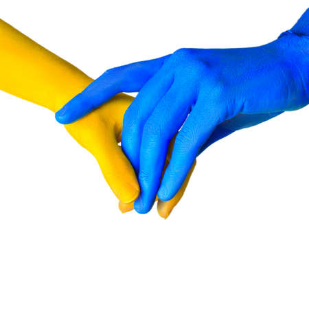 image of colored hands in different pose