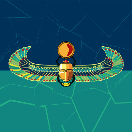 egyptian culture: Scarabaeus vector illustration  Illustration