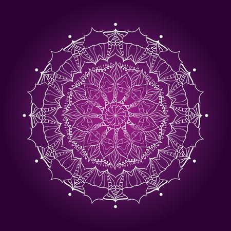 mandala with decorative elements. card or invitation. Geometric circle element. Glowing mandala. Иллюстрация
