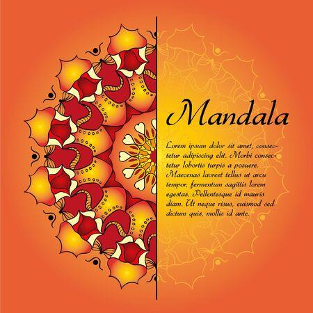 mandala with decorative elements.  Card or invitation. Geometric circle element. Glowing mandala.
