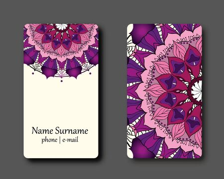 Business Card with Orange Vintage decorative elements. Ornamental floral business card, illustration.