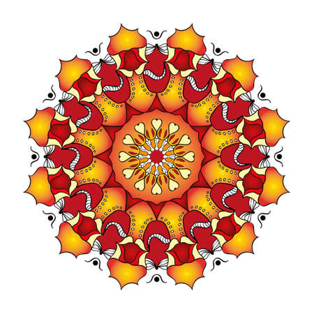 mandala with decorative elements. Hand drawn Card or invitation. Geometric circle element. Glowing mandala. Иллюстрация