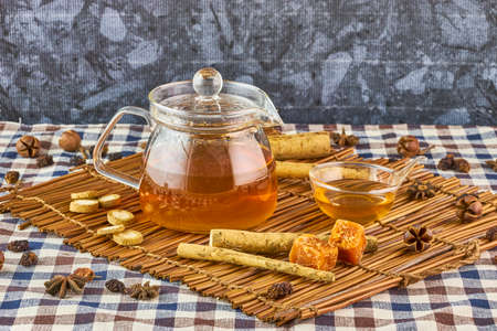 Burdock herbal tea, healthy medicine and remedy Stock Photo