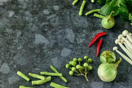 Fresh vegetables vegan background Asian style