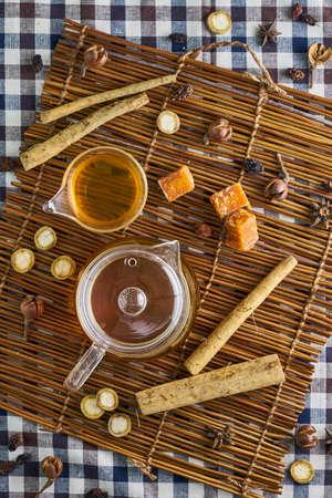 Burdock herbal tea, healthy medicine and remedy. Top view