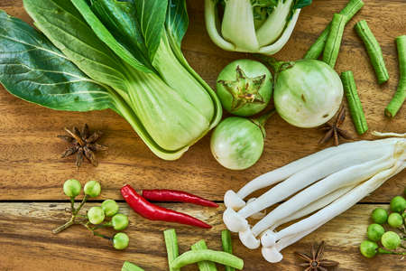 national fruit of china: Fresh vegetables vegan background Asian style