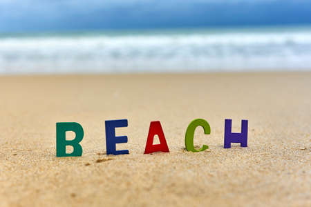 BEACH wood letters on the beach