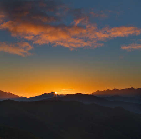 cordillera: Sunrise on Picos de Europa mountains next to Fuente De village in Cantabria, Spain