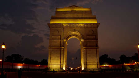 india gate: Dark night at India gate, New Delhi, India Stock Photo