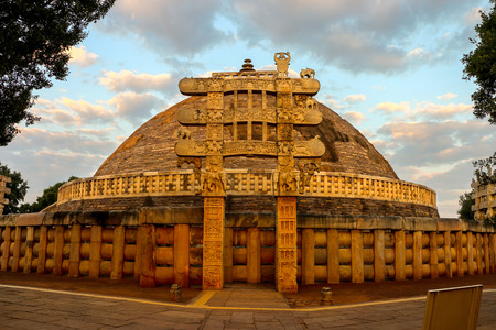 madhya: Front View of Sanchi Stupa, located at Sanchi Town, Madhya Pradesh, India Editorial
