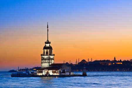 Princess Island in Istanbul, at sunset, with Hagia Sophia mosque in the background