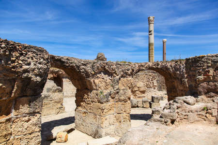 phoenicians: Ancient Roman Empire ruins of Carthage in near the sea in Tunisa