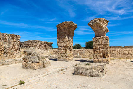 Ancient Roman Empire ruins of Carthage in near the sea in Tunisa
