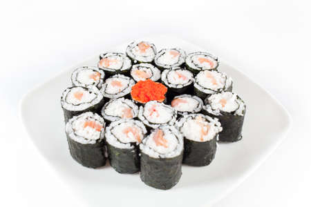 sushi plate: Sushi Plate on white background Stock Photo