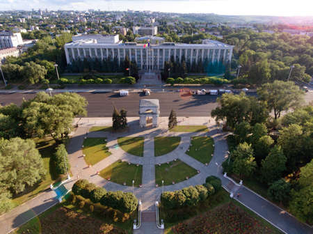 Chisinau, the Triumphal Arch, The Great National Assembly Square and the main gouverment building in the city center
