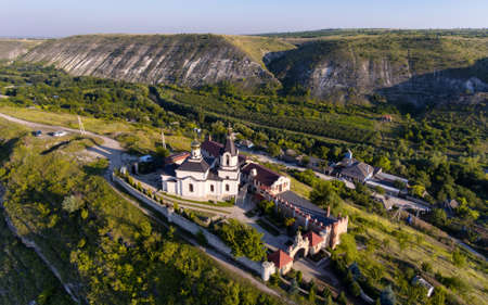 Sunset in Orhei, Republic of Moldova, Aerial view with the old Church at The Old Orhei