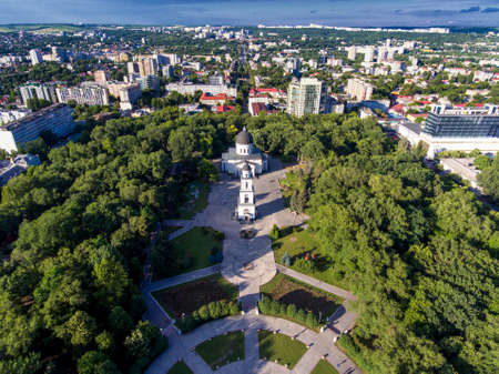 Chisinau, Republic of Moldova, aerial view from drone. Central park. 스톡 콘텐츠