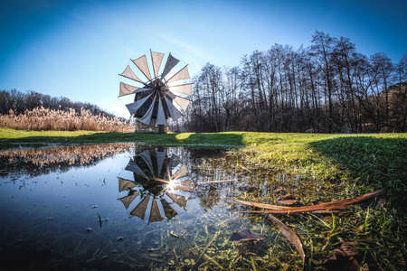 traditional windmill: Traditional windmill near Sibiu, Transylvania, Romania. Stock Photo