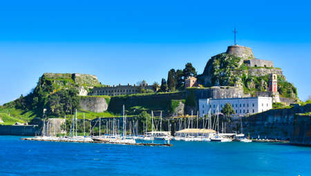 Panoramic view of the old venecian fortress in Corfu Town, Kerykra, Greece, island in the mediterranean sea. Important tourist attraction Editorial