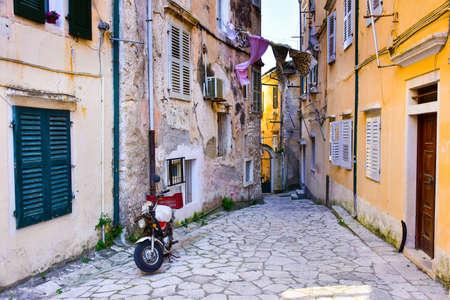 Old narrow streets of Corfu Town, Kerkyra, Greece