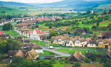 Traditional Saxon village in Transylvania, Romania Stock Photo