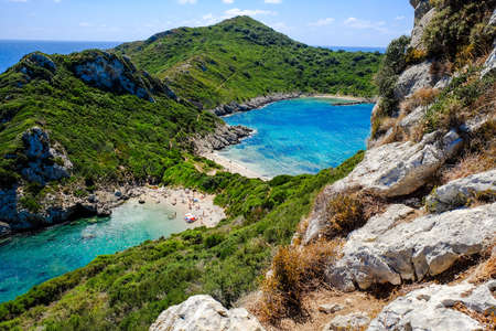 The famous beach Porto Timoni in Corfu island Kerkyra, Greece