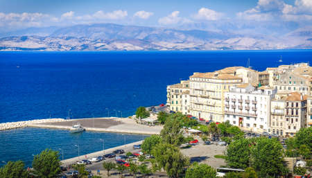 corfu: Corfu old harbour, city symbol. Panoramic view