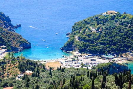 Paleokastritsa beach and bay view from above. Important tourist attraction in Corfu island