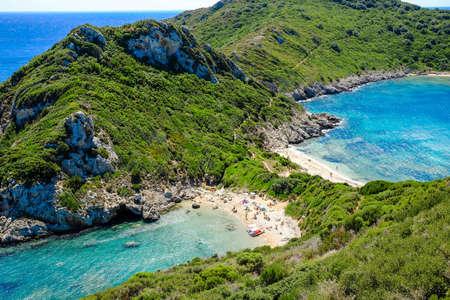 Porto Timoni, the most famous and beautifull beach in Corfu island, Greece. Important tourist attraction.
