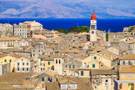 kerkyra: Corfu panorama over the old city and old clock tower, city symbol. Stock Photo