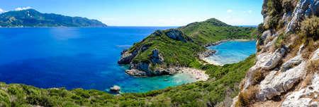Porto Timoni panorama. The most famous and beautifull beach in Corfu island, Greece. Important tourist attraction. Stock Photo