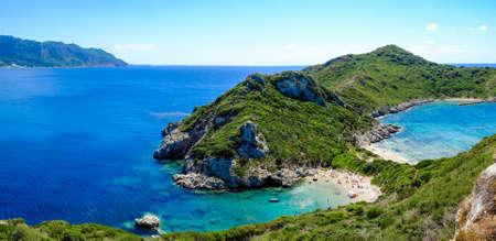 Porto Timoni, the best beach in Corfu island, Greece. Important tourist attraction.