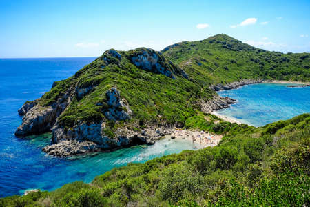 the best beach in Corfu island, Porto Timoni. Important tourist attraction.