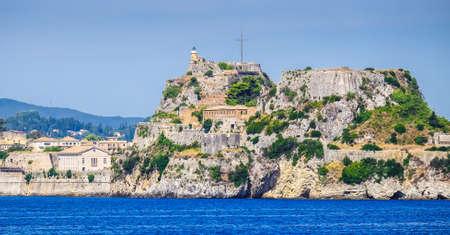 kerkyra: Corfu fortress walls as seen from the sea panoramic shot