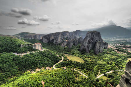 Meteora Greece artistic panoramic black and white view from the Grand Meteor Monastery