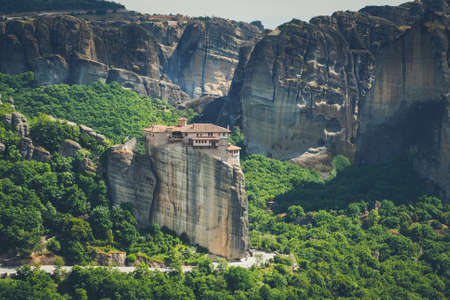 kalambaka: Meteora monasteries in Greece, Kalambaka region, Thessaly. Panorama artistic image. Editorial
