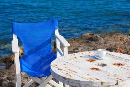 Greek coffee near the sea