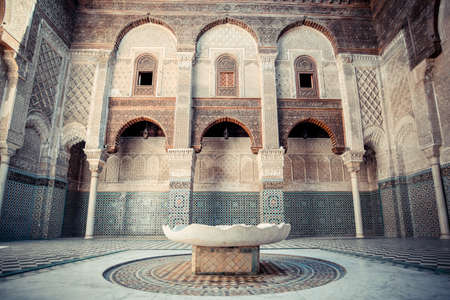 fes: FEZ, MOROCCO, JUNE 2016: old islamic coranic school, the oldest in the country